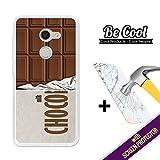 BeCool®–Handy Schutzhülle [Flexible Gel] für Alcatel A3[+ 1Displayschutzfolie Glas] Ultra Dünn Silikon, schützt und sich perfekt an Ihrem Smartphone. Tafel-Schokolade.