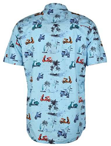 Tokyo Laundry Herren Gallen Kurzärmlig Blumenhemd Größe S- XL Blau