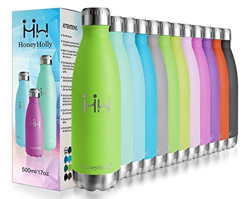 HoneyHolly Vakuum Isolierte Edelstahl Trinkflasche - 26oz/ 750ml Ideale Thermosflasche für Kinder, Kleinkinder, Schule, Kindergarten, Sport, Outdoor, Fahrrad, Fitness, Camping, Auslaufsichere Kindertrinkflasche, 24 Std Kühlen & 12 Std Warmhalten Kalte/Heiße Sporttrinkflasche(Grün)