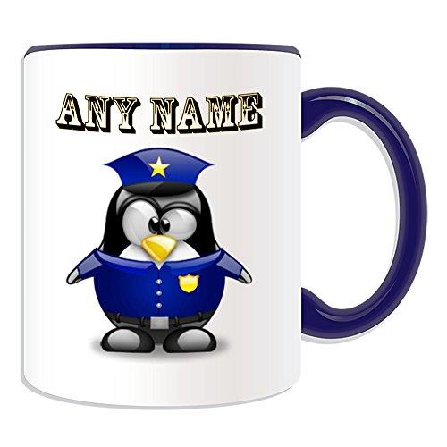 Personalisiertes Geschenk–POLIZEI Tasse (Pinguin in Kostüm Design Thema, Farbe Optionen)–alle Nachricht/Name auf Ihre einzigartige–Polizist Polizistin, keramik, (Melden Kostüme Keine)