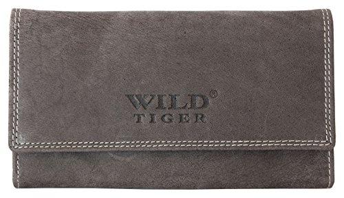 Damen Graues Leder Portemonnaie - Briftasche Wild Tiger (Tiger Damen Leder)