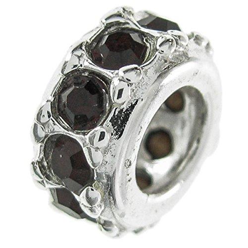 In argento sterling 925, cristalli di compleanno gennaio cz rosso anello perlina distanziale per braccialetti europei