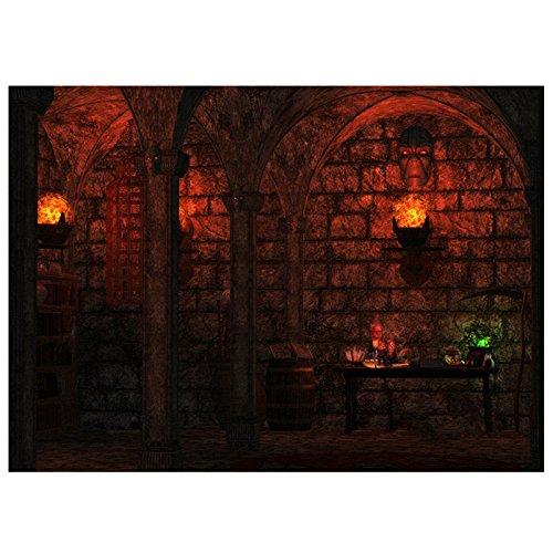 SODIAL(R) 7x5 pies Telon de fondo del castillo del miedo Fondo de foto Fotografia de vinilo de Halloween