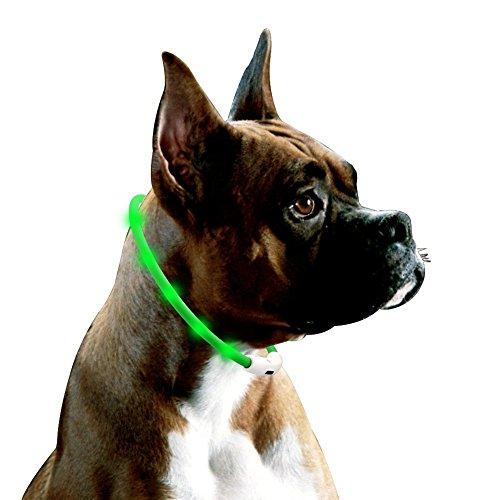 Collar de Perro Luminoso, 70cm Silicona Collar de Perro LED, Collar de Seguridad para Mascotas el Tama?o se Puede Cortar para Caber Cualquier Perro, Collar LED Recargable, Verde