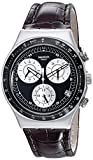 Swatch Unisex-Armbanduhr Classic Mocassin Chronograph Quarz Leder YCS572