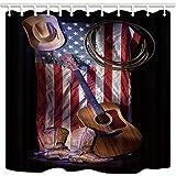 KOTOM Tende da doccia occidentali, tradizionali stivali da cowboy Hat Corda chitarra nella bandiera americana USA Cultura popolare Resistente poliestere Tessuto in poliestere Bagno Tende da bagno Accessori e ganci 70x70 pollici