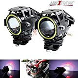 #9: Allextreme U7 Driving Drl Fog Light Spotlight,High/Low Beam, Flashing-With White Angel Eyes Light Ring (Pack Of 2) U 7 Led Fog Light White Angel Eye