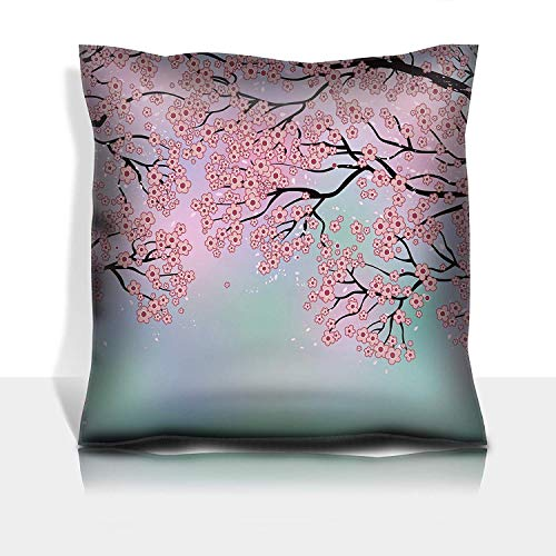 se Cotton Satin Comfortable Decorative Soft Pillow Covers Protector Sofa 18x18 1 Pack Branches of Blossoming Trees on a Background Created with MES ()