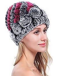 MEEFUR Damen Echt Rex Kaninchenfell Hüte Winter Häkeln Gestrickt  Kopfbedeckung Mädchen Stilvoll Modisch Kirchturm Mützen Mehrfarbig 8d722c9b65