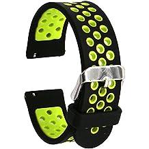 Runtenic 20mm Gear S2 / Pebble Time Banda Soft Silicone Replacement Sport Band Correa para Samsung Galaxy Gear s2 Classic SM-R7320 / LG G / Motorola Moto 360 2 42mm / Garmin Vivomove Classic / Sport / Huawei Watch 2 Smart Watch (Black Yellow)