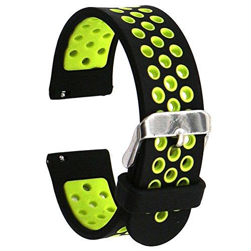 Runtenic 20mm Armband Sport für Samsung Gear S2 Classic SM-R732, Moto360 2nd Gen Herren 42mm, Garmin Vivoactive 3/Vivomove HR,Huawei Watch 2 und andere 20MM Uhr Zubehör Bands (Black Yellow) (9 Nike Moto)