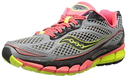 Saucony Women's Ride 7 Viziglo Running Shoe,Silver/Vizi Coral/Citron,10.5 M US Silver/Vizi Coral/Citron