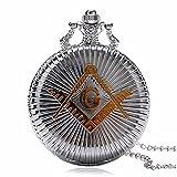 Masón Masónico Antiqued pulido plata Retro/Vintage caso hombres de cuarzo reloj de bolsillo collar-en 32pulgadas/80cm cadena