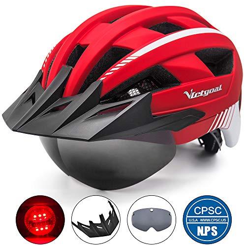 Victgoal Fahrradhelm MTB Mountainbike Helm mit abnehmbarem magnetischem Visier Abnehmbarer Sonnenschutzkappe und LED Rücklicht Radhelm Rennradhelm für Erwachsenen Herren Damen (Red)
