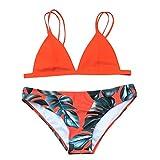 FORH Damen Bikini Set Reizvolle Halter Seil BH Push Up Badeanzug Swimwear High Waist Bikini Bademode Summer Beachwear (Orange, S)