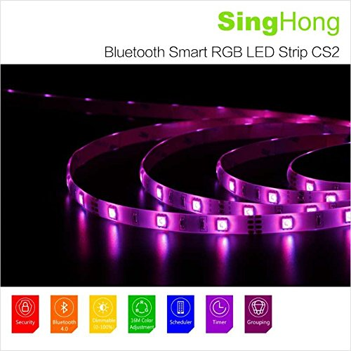 SingHong - Guirlande Ruban LED Bluetooth Connecté - 3 mètres - 90 LED - 24 Watts - Pilotable Via Smartphone