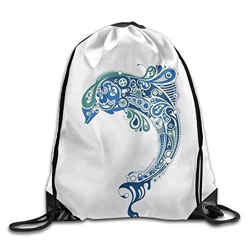 elzug, Sportrucksack, Reiserucksack, Dolphin Puzzle Print Drawstring Backpack Rucksack Shoulder Bags Gym Bag Sport Bag ()