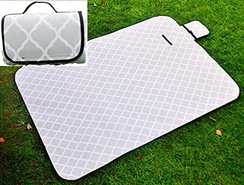 X-Labor Waschbar Baumwolle Leinen Picknick Decke 200x150 cm XXL mit wasserdichter PEVA Unterseite Wärmeisoliert Stranddecke Campingdecke Grau Welle