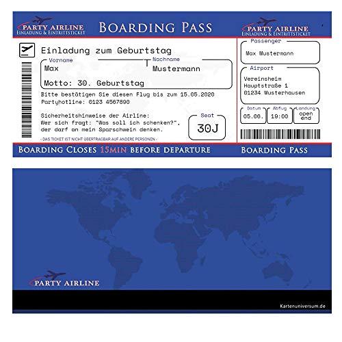 Geburtstagseinladungen als Flugticket in Blau Einladung zum 20. 30. 40. 50. 60. oder 70. Geburtstag + Ihren Daten & Texten Bordkarte Boarding Pass Karten Karte Boardkarte ausgefallen originell