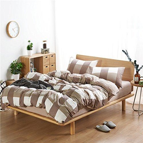 DACHUI Gewaschener Baumwolle Streifen kariert Bettwäsche Set einfachen Stil komfortabel Atmungsaktiv Heimtextilien Bettwäsche Kollektion, braunes Gitter, 220 * 240 cm (Braune Tröster)