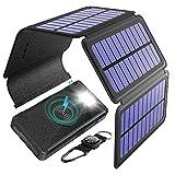 BLAVOR Caricabatterie Solare, 20000mAh Qi Wireless Power Bank Portatile con 5 Pannelli Solari Staccabile Batteria Esterna con Torcia Tipo C e Porta Doppia Uscita (Nero)