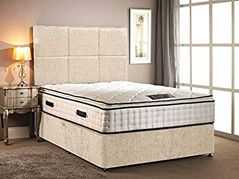 Divan Bed chenille fabric different colour with High Pillow top 30cm Deep mattress with four drawers with headboard in different size variation (Cream, 5FT KING)