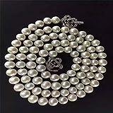 Lnyy Natürliche Süßwasser Perlenkette Long Pullover weiß edle Göttin Perle Halskette