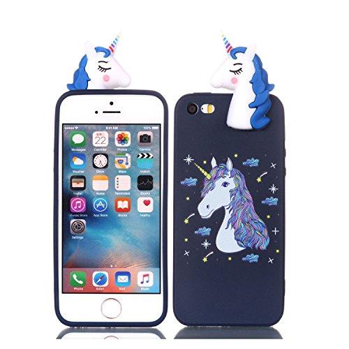 HUDDU Compatible for iPhone 5S Xmas Hülle Blau Handyhülle Transparente Weihnachten Schutzhülle TPU Silikon Back Case Karikatur Muster Christmas iPhone 5 / iPhone 5S / iPhone SE - Einhorn Pferd