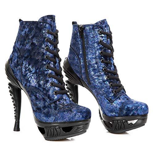New Rock M.MAG016-S32 Zapatos Mujer Chica Cuero Azul Piel Tacón Punk Heavy Gotico