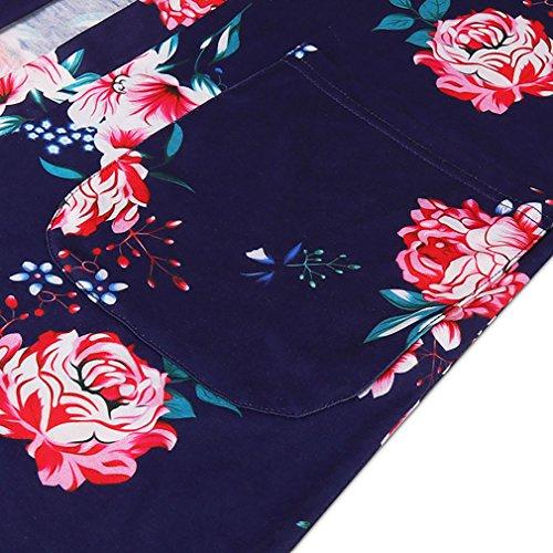Kimring Women's Floral Print Long Sleeve Shirt Loose Casual Jacket Knit Coat Navy