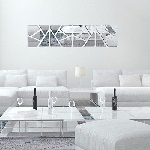 3D Cristal Espejo Pared Pegatinas Tridimensionales Bricolaje TV Telón De Fondo Decorativos,Silver-20*80cm