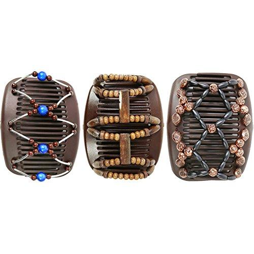 COM-FOUR African Butterfly - Afrikanische Haarklammer Haarspange Haarkamm (3er Set - Braun)