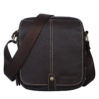 """51SiJ2HQiuL. SS324  - Leathario Bolsos Bandolera Cuero Vintage Pequeño para Hombres Bolsa Hombro Piel Mensajero Moda Casual Trabajo de Escolar Estudiante Crossbody Tablet 7,9"""""""