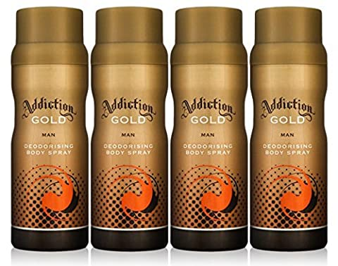 Addiction GOLD Men Deodorant Body Spray Fragrance 150ml (4 Pack)