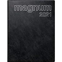 rido/idé 7027042901 Buchkalender magnum, 2 Seiten = 1 Woche, 183 x 240 mm, Schaumfolien-Einband Catana schwarz, Kalendarium 2021