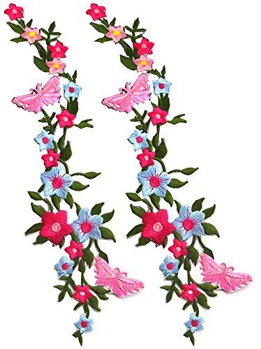 2 Stück neue Schmetterlinge Blume Applique Kleidung Stickerei Patch Stoff Aufkleber Eisen auf Nähen auf Patch Handwerk Nähen Reparatur bestickt