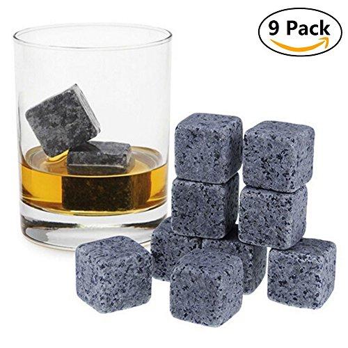 myfei Whisky Steine, wiederverwendbar Ice Stein Chillen Rocks Cubes ohne Dilution, Granit (Cooling Ice Bier Kühler Rocks mit Tasche, 9Pack Rock Lesezeichen