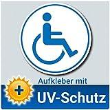 LabelDay Aufkleber Rollstuhlfahrer Auto Ø 12cm weiß blau, Rollstuhl Symbol/Zeichen, Parken mit Behinderung, Rollstuhlaufkleber, Behindertenaufkleber, Rollstuhlzeichen, Autoaufkleber