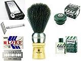 Kit completo de afeitado clasico con Brocha 4212 Maquinilla de Acero Jabón 10000R Hojillas L102 y Aftershave Eucalipto KIT001