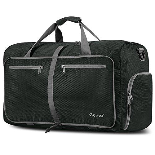 Gonex Leichter Faltbare Reise-Gepäck 80L, Farbe: Schwarz, Duffel Taschen Uebernachtung Taschen/Sporttasche für Reisen Sport Gym Urlaub