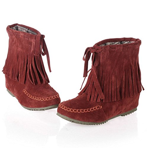 Zanpa Femmes Pull on Cheville Bottes Franges Western bootie red