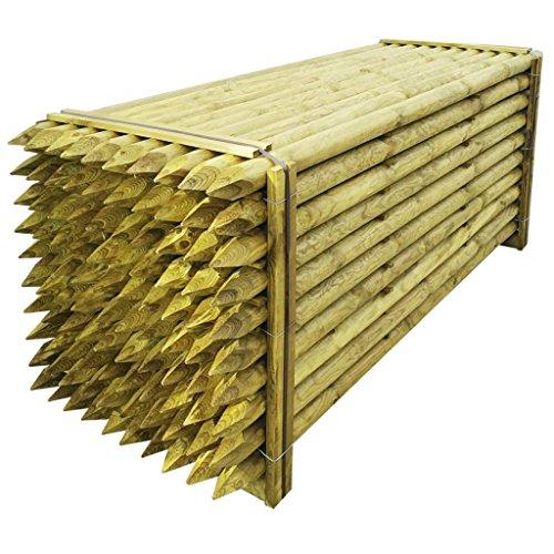 *vidaXL 100x Zaunpfosten 6x240cm Angespietzte Holzpfosten Zaunpfähle Holz Pfosten*
