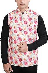 La Rainbow Casual Silk Blend Printed Nehru Jacket For Men/Boys (38)