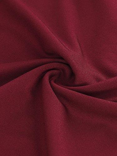 HENCY Kleid Gerafftes Kleid Mit Raffung Knoten Schleife Partykleid V-Ausschnitt Ärmellos Weinrot