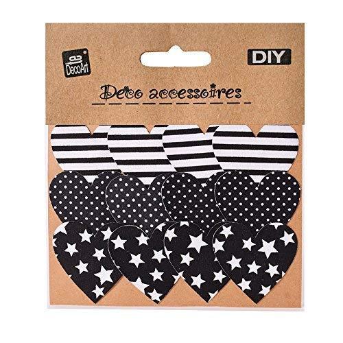 TE-DecoArt 12 Textil Patch Aufbügler Aufbügelflicken Applikation Herz schwarz weiß Gemustert zum Selber Flicken Stylen Dekorieren ca. 5 x 5 cm (Schwarz Weiß Herz Und)