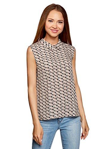 oodji Ultra Damen Ärmellose Bluse Basic mit Kragen, Beige, DE 40 / EU 42 / L