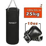 CCLIFE Boxsack Sandsack gefüllt 25kg 100x30 cm mit Boxhandschuhe 10oz