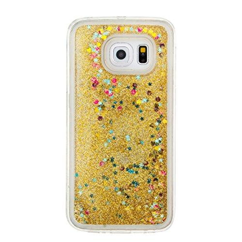 für Samsung Galaxy S6 Edge Hülle, 3D Fließen Flüssig Schwimmend Treibsand Stern Bling Luxus Shiny Glanz Sparkle Kristall Crystal Bunte der Liebe Design zurück Tasche Schutzhülle für Samsung Galaxy S6  11