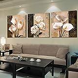 YIMENGSX Wall Art Home Decor Quadro Quadro Quadri 3 Pezzi Astratta Tulipano Dipinti per Soggiorno Stampe HD Poster, Cornice, 40cm x 40xm x 3pz