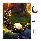 CBA BING Moon Crackle Glass Globe Stake Metall Lichter,Wasserdicht Outdoor Landschaft Lichter
